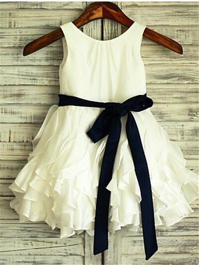 Scoop Neck A-Line/Princess Flower Girl Dresses Chiffon Sash Sleeveless Knee-length (010211931)