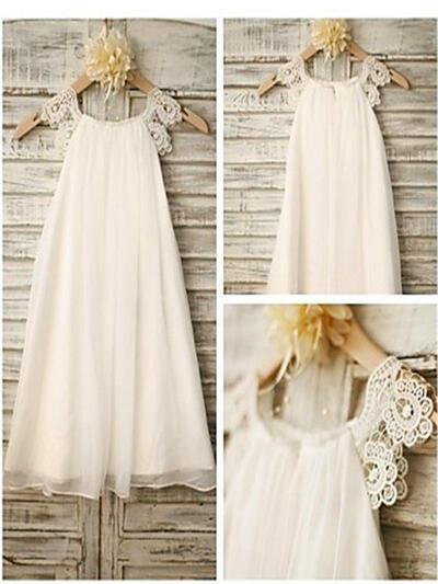 Scoop Neck A-Line/Princess Flower Girl Dresses Chiffon Lace Sleeveless Tea-length (010211752)