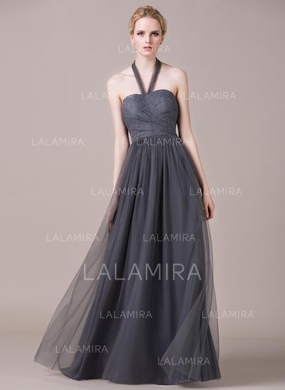 Halter A-Line/Princess Tulle Lace Sleeveless Bridesmaid Dresses (007059454)