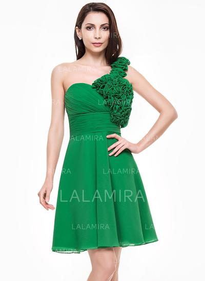 A-Line/Princess Knee-Length Chiffon One-Shoulder Homecoming Dresses (022065575)