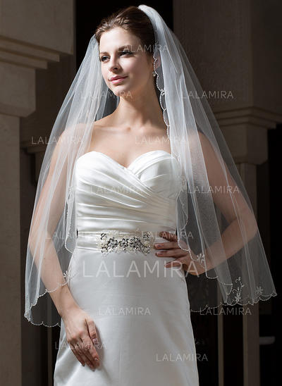 Fingertip Bridal Veils Tulle One-tier Classic With Scalloped Edge Wedding Veils (006151082)