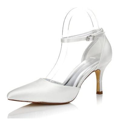 Women's Closed Toe Pumps Dyeable Shoes Stiletto Heel Satin Yes Wedding Shoes (047205962)