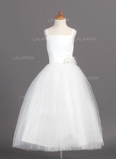 Satin/Tulle Ball Gown Flower(s) 2019 New Flower Girl Dresses (010004208)