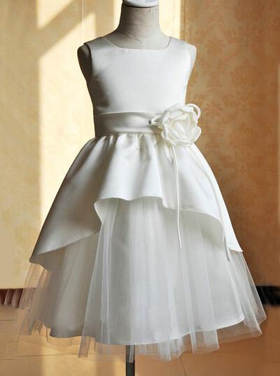 Fashion Square Neckline A-Line/Princess Flower Girl Dresses Tea-length Satin/Tulle Sleeveless (010146796)