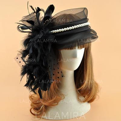 Organza With Feather/Imitation Pearls Fascinators Vintage Ladies' Hats (196195081)