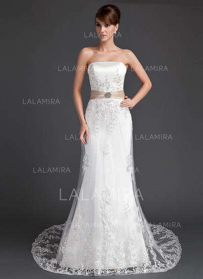 Beautiful Court Train Strapless Trumpet/Mermaid Tulle Wedding Dresses (002196864)
