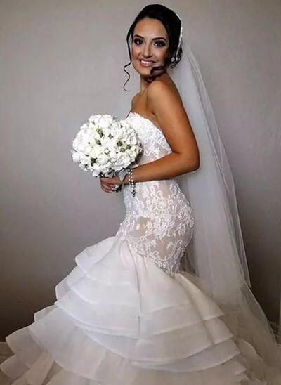 Chapel Train Trumpet/Mermaid Strapless - Organza Wedding Dresses (002146253)
