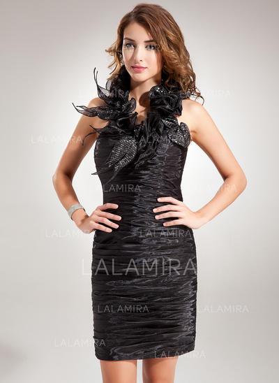 Sheath/Column Halter Short/Mini Organza Cocktail Dresses With Ruffle Sequins (016008251)