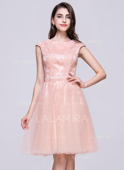 Decote redondo Sem magas Tule Luxuoso Vestidos de boas vindas (022214039)