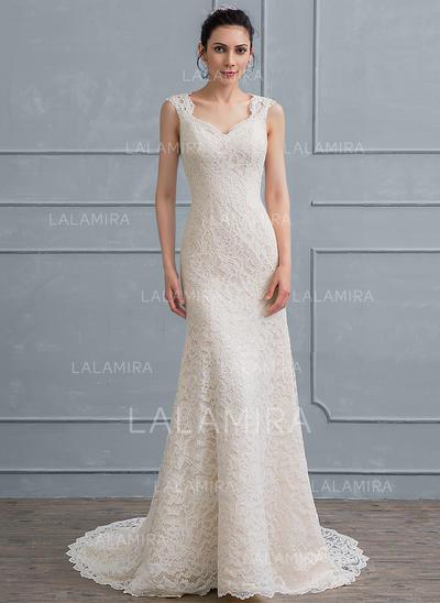 Dentelle Forme Fourreau avec Glamour Standard Grande taille Robes de mariée (002111945)