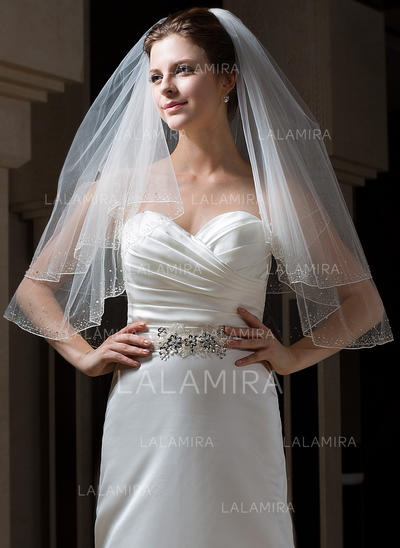 Elbow Bridal Veils Tulle Two-tier Classic With Pencil Edge Wedding Veils (006151083)