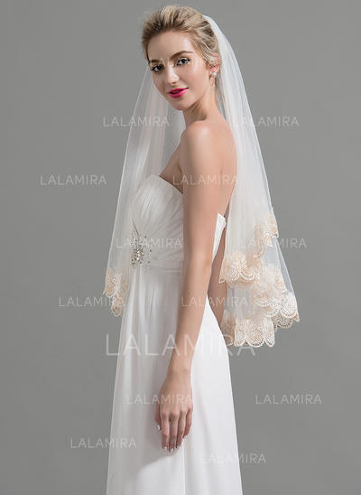 Waltz Bridal Veils Tulle One-tier Classic With Lace Applique Edge Wedding Veils (006151956)