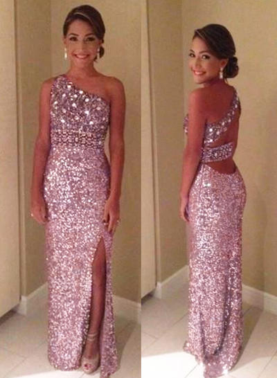 One-Shoulder Split Front Sheath/Column Sequined Prom Dresses (018210221)
