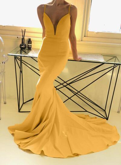 V-neck Stretch Crepe Princess Evening Dresses (017217889)