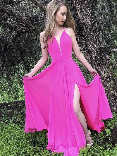 Pregueado Longos Sem magas com Tecido de seda Vestidos de festa (017212104)
