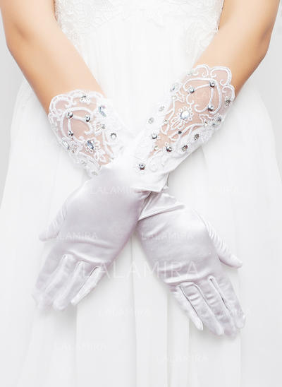 Elastic Satin Ladies' Gloves Elbow Length Bridal Gloves Cotton Gloves (014192007)