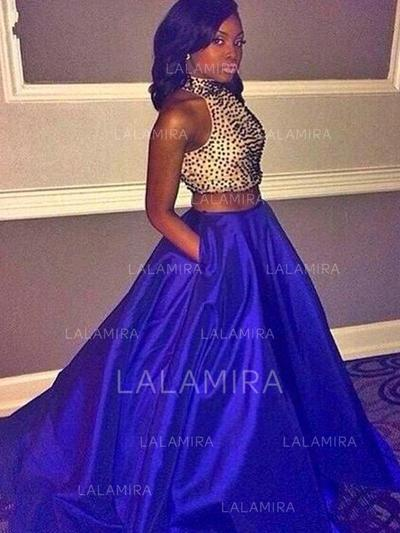 Taffeta Halter Ball-Gown 2019 New Prom Dresses (018210316)