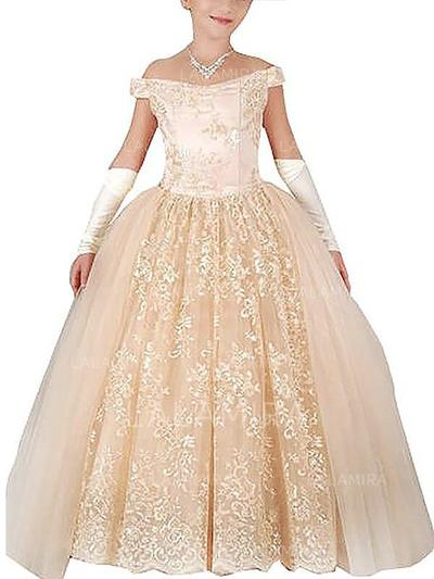 Off-the-Shoulder Ball Gown Flower Girl Dresses Tulle Appliques Sleeveless Floor-length (010211745)