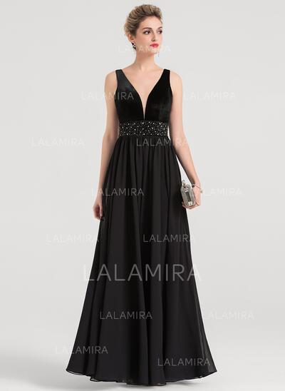 A-Line V-neck Floor-Length Chiffon Evening Dress With Beading Sequins (017147973)