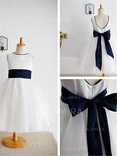 Scoop Neck A-Line/Princess Flower Girl Dresses Tulle Bow(s) Sleeveless Ankle-length (010211992)