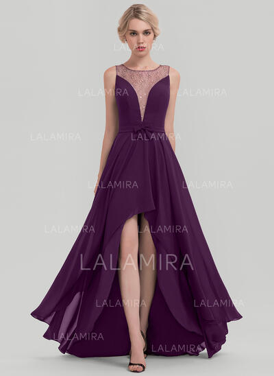 A-Line Scoop Neck Asymmetrical Chiffon Evening Dress With Sequins Bow(s) (017116330)