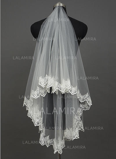 Waltz Bridal Veils Tulle One-tier Classic/Cascade With Lace Applique Edge Wedding Veils (006151210)