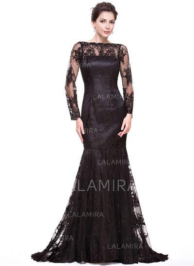 Trumpet/Mermaid Scoop Neck Sweep Train Lace Evening Dress (017066941)