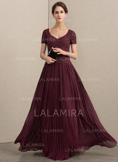 A-Line/Princess V-neck Floor-Length Chiffon Lace Mother of the Bride Dress With Sequins Pleated (008164104)