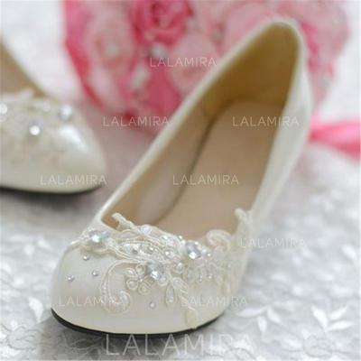 Women's Closed Toe Pumps Stiletto Heel Leatherette With Rhinestone Flower Wedding Shoes (047206427)