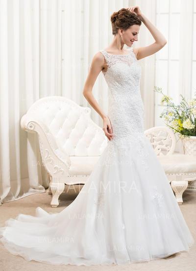 Lujoso Cuentas Lentejuelas Corte trompeta/sirena con Tul Encaje Vestidos de novia (002210568)