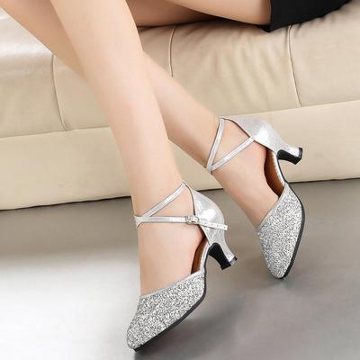 Women's Ballroom Heels Leatherette Sparkling Glitter Dance Shoes (053181168)