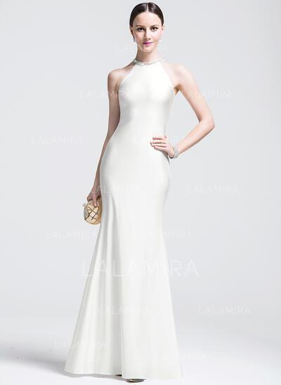 Trumpet/Mermaid Scoop Neck Floor-Length Jersey Evening Dress With Beading (017074992)