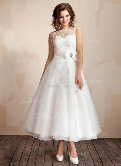 sencillo bola corte a/princesa vestidos de novia hasta el tobillo