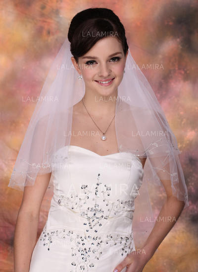 Fingertip Bridal Veils Tulle Two-tier Classic With Cut Edge Wedding Veils (006150918)