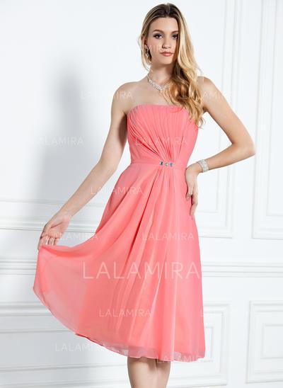 A-Line/Princess Knee-Length Chiffon General Plus Bridesmaid Dresses (007000916)