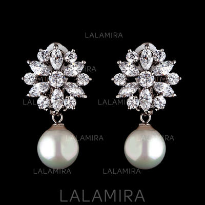Earrings Pearl/Zircon Pierced Ladies' Beautiful Wedding & Party Jewelry (011166566)