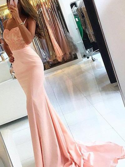 Trumpet/Mermaid Satin Prom Dresses Appliques Lace Sleeveless Sweep Train (018210279)