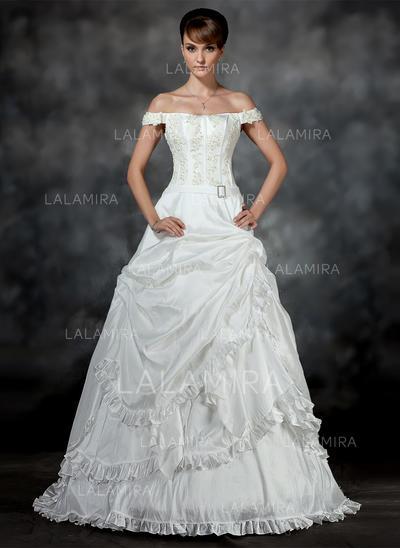 Ruffle Beading Appliques Crystal Brooch Sleeveless Off-The-Shoulder Taffeta Ball-Gown Wedding Dresses (002196899)