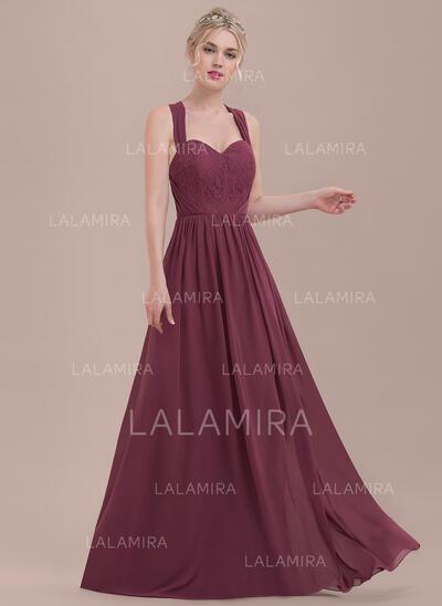A-Line/Princess Sweetheart Floor-Length Chiffon Lace Bridesmaid Dress With Ruffle (007116657)