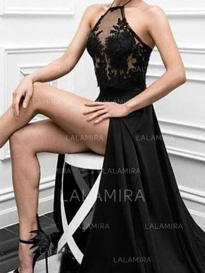 Beautiful Satin Evening Dresses A-Line/Princess Floor-Length Halter Sleeveless (017217114)