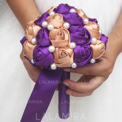 Rond Satiné Bouquets de mariée/Bouquets de demoiselle d'honneur (vendu en une seule pièce) - (123137306)