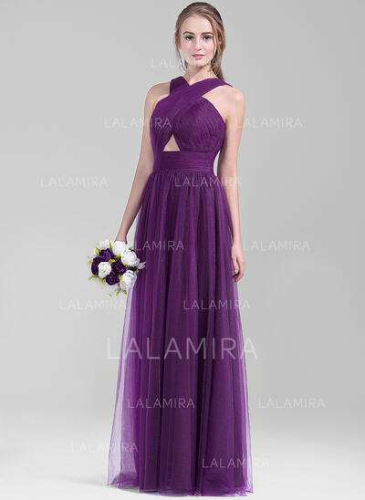 A-Line/Princess V-neck Floor-Length Tulle Bridesmaid Dress With Ruffle (007072816)