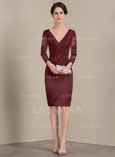 Sheath/Column V-neck Knee-Length Satin Lace Mother of the Bride Dress With Beading (008143389)