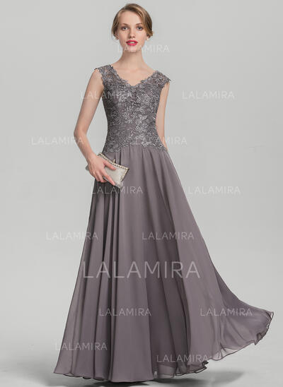A-Line/Princess V-neck Floor-Length Chiffon Lace Mother of the Bride Dress With Ruffle (008131934)