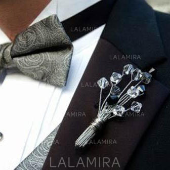 "Boutonniere/Men's Accessories Hand-tied Wedding/Party Crystal 3.94""(Approx.10cm) Wedding Flowers (123189125)"