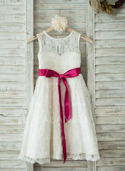 A-Line/Princess Tea-length Flower Girl Dress - Lace Sleeveless Scoop Neck With Sash (010093389)
