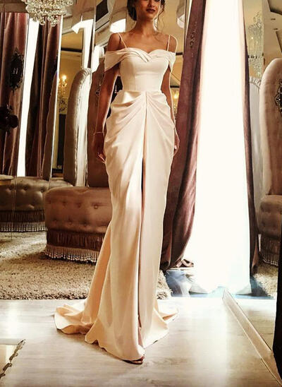 Sleeveless Sweep Train Satin Sheath/Column Wedding Dresses (002146932)