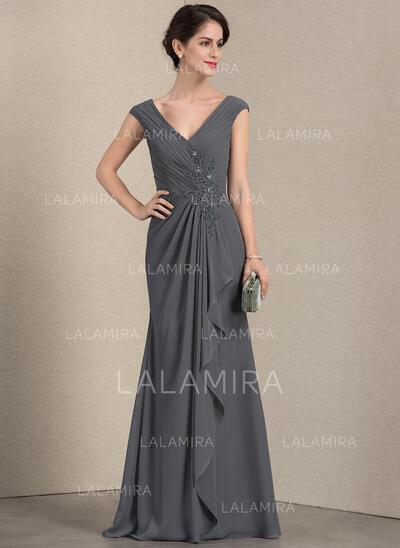 A-Line/Princess V-neck Floor-Length Chiffon Mother of the Bride Dress With Beading Sequins Cascading Ruffles (008143347)