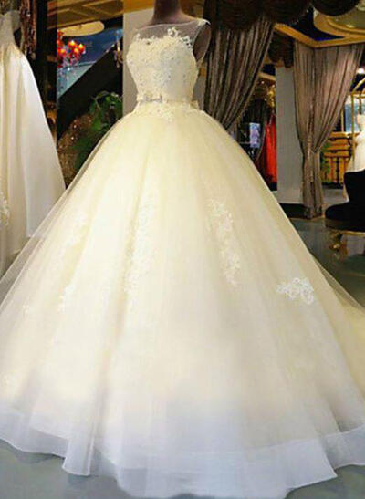Modern Cathedral Train Sash Beading Appliques With Tulle Wedding Dresses (002147820)