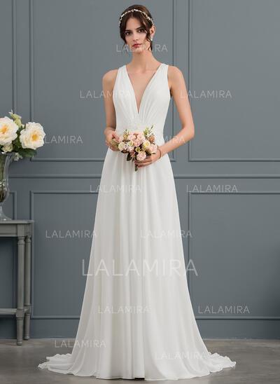 Corte A Decote V Sweep/Brush trem Tecido de seda Vestido de noiva com lantejoulas (002144860)
